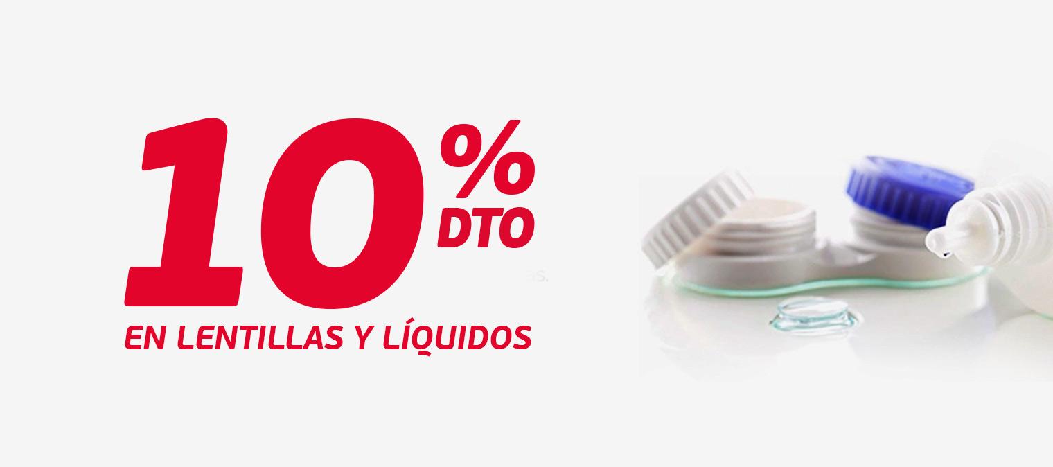 10% descuento en lentillas y líquidos
