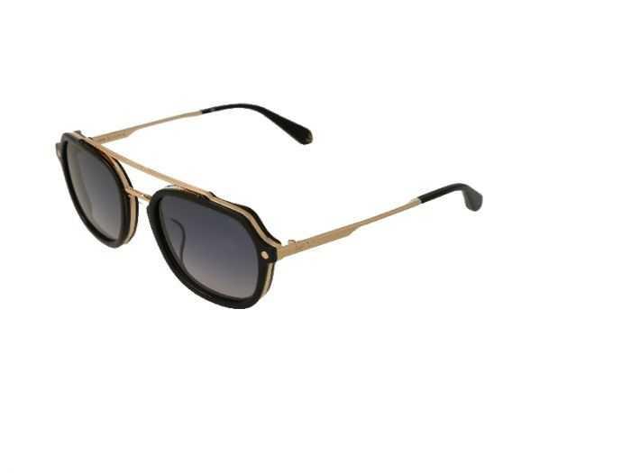 Imagen de gafas de sol Police by Lewis Hamilton negras con frontal dorado y varillas de metal del mismo color